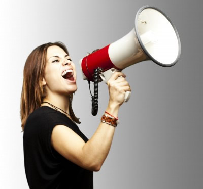 Expressive woman with megaphone